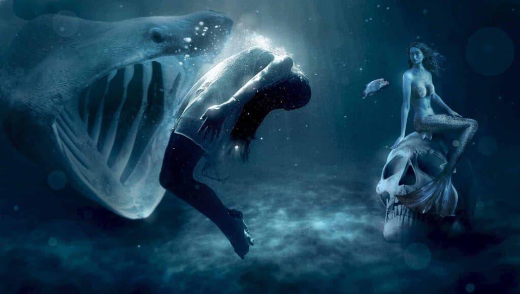 scary under ocean beastie mermaid